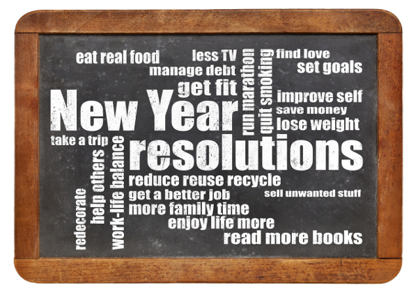 New Year goals or resolutions - a word cloud on a vintage slated blackboard